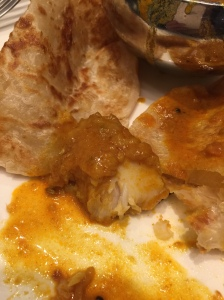 Thick chunk of fish in the curry