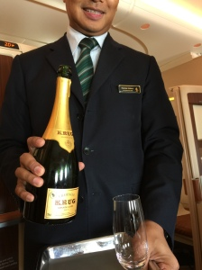 One last glass of champagne before landing - The Krug Grande Cuvee