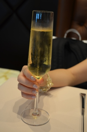 A glass of bubbly in the lounge