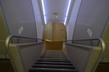 Stairs going down to First Class