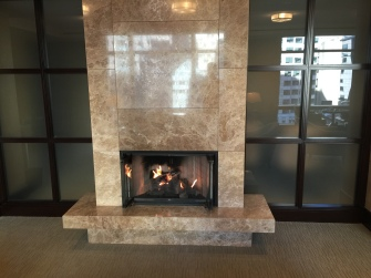 Fireplace in lounge