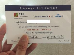 Invitation Card to Premier Lounge