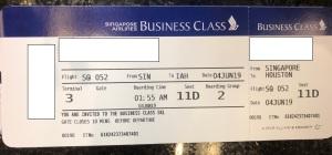 SIN IAH Boarding Pass